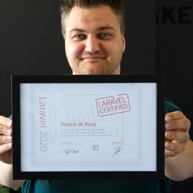 Delano is Laravel gecertificeerd